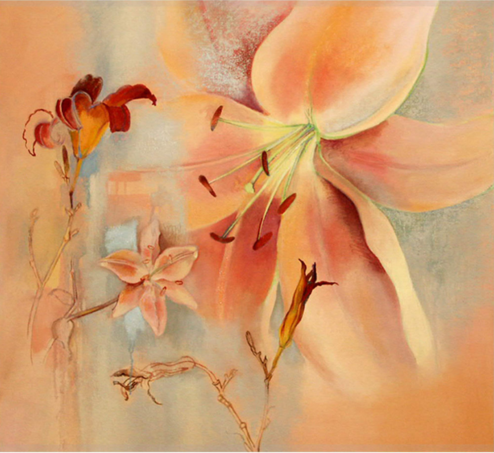 Daylily, always coming and going,oil and oil stick on canvas, 28 x 37 inches, 2006