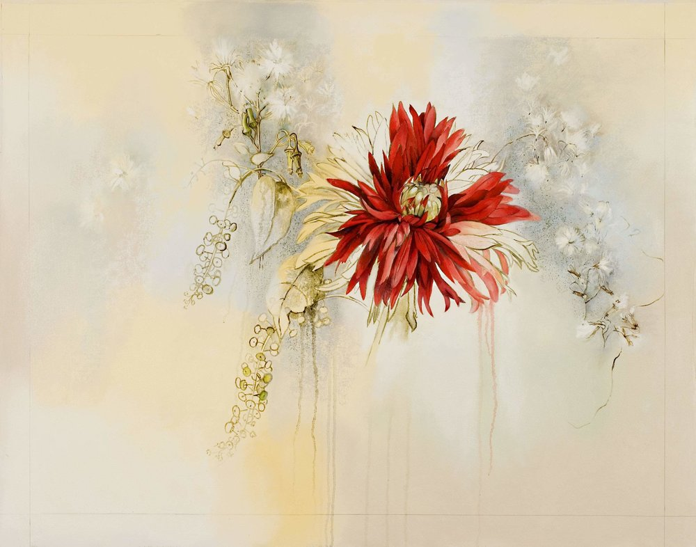 Dahlia disappearing in the weeds , oil and oil stick on canvas, 28 x 37 inches, 2006