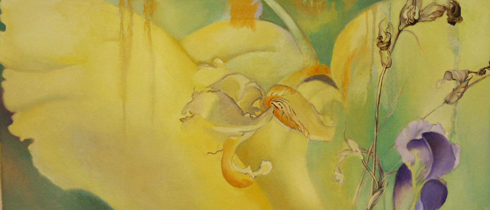 Iris Passing, oil and oil stick on canvas, 16 x 35 inches, 2005