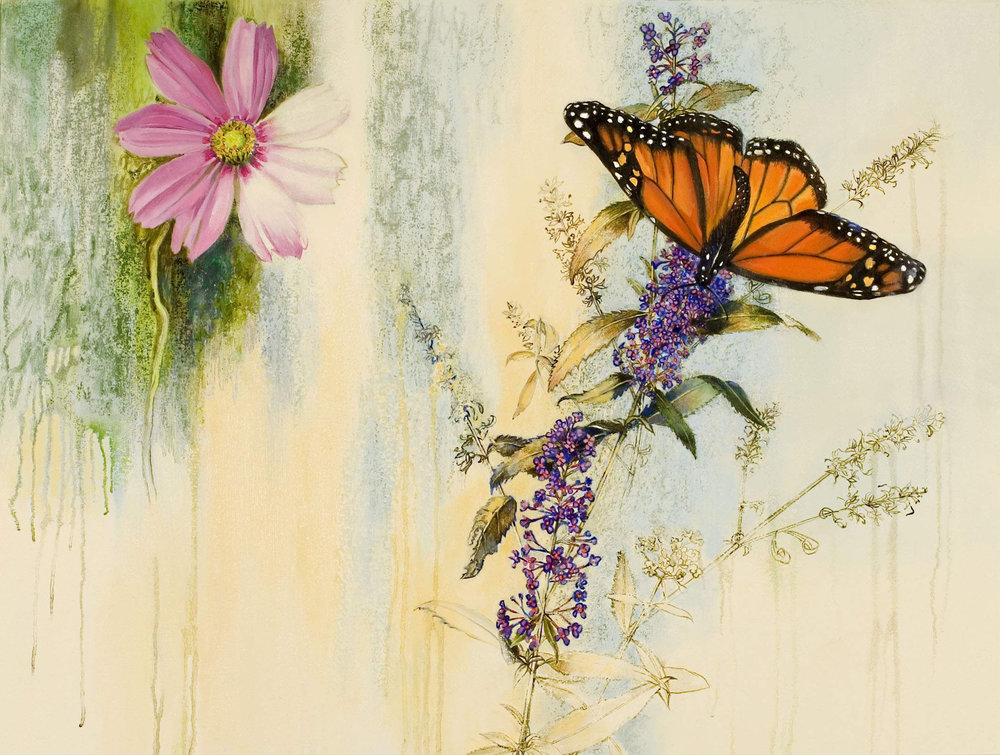 Pollinating the Cosmos, oil and oil stick on canvas, 28 x 36 ½ inches, 2007