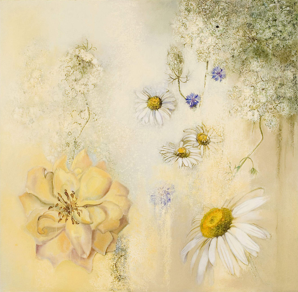 Roses and Queen Anne's Lace, oil and oil stick on canvas, 28 x 29 inches, 2007