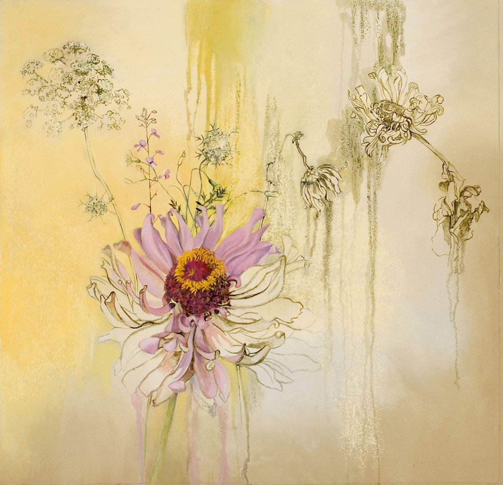 Zinnia and Queen Anne's Lace, oil and oil stick on canvas, 28 x 29 inches, 2007