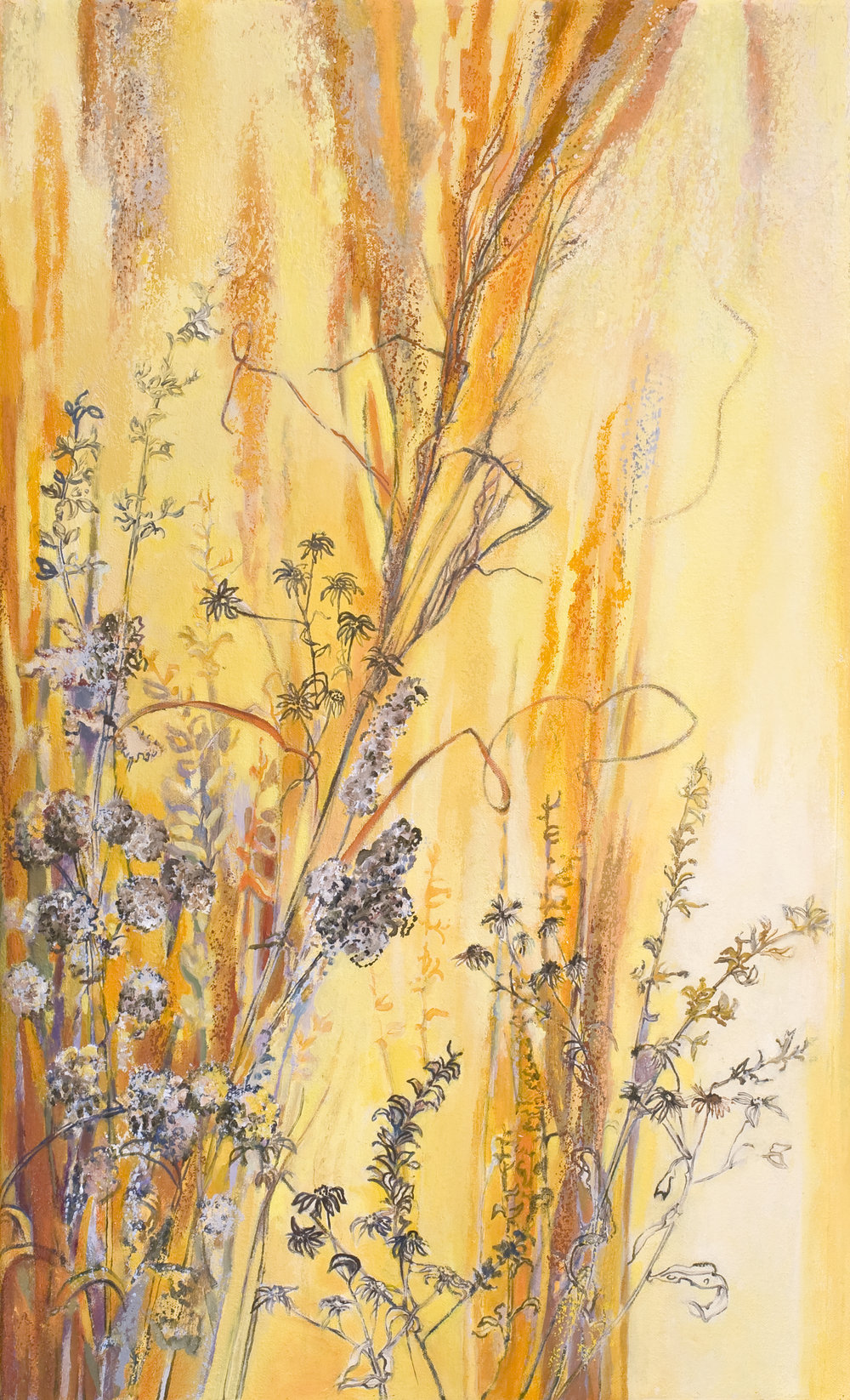 Winter Grasses, oil stick and oils on canvas, 30 ½ x 18 inches, 2008