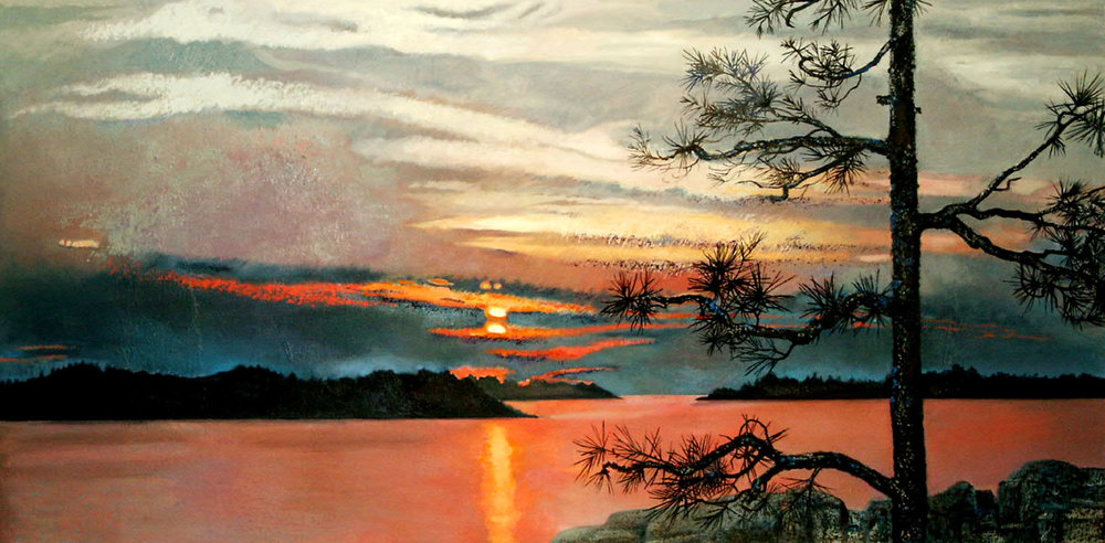 Island Sunset , oil and oil stick on canvas, 61 x 31 inches, 2005