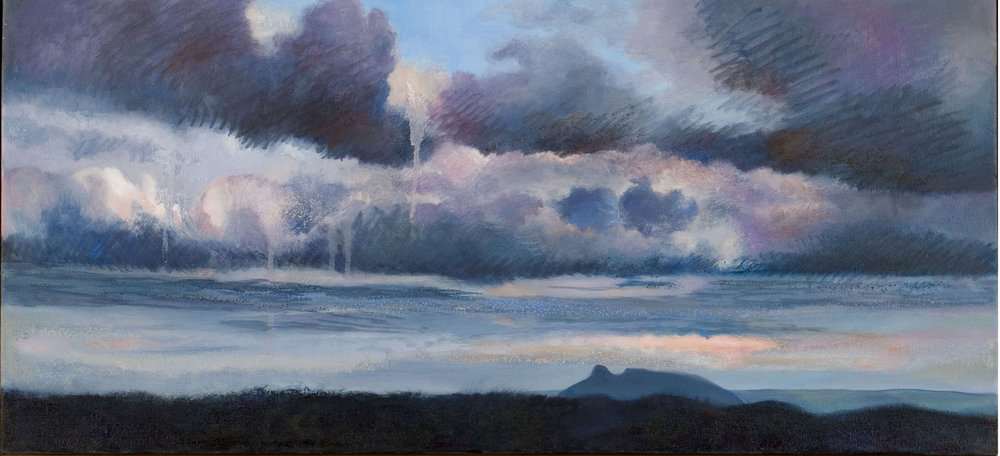 Pilot Mountain, oil and oil stick on canvas, 14 ¼ x 31 inches, 2005