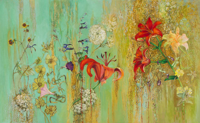 Oriental Lilies, Petunia, Blue Salvia, Yellow Primrose, Queen Anne's Lace, Tickseed, Sweet pea,