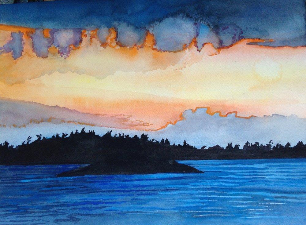 Sunset, Georgian Bay, 12 x 16 inches, 2017