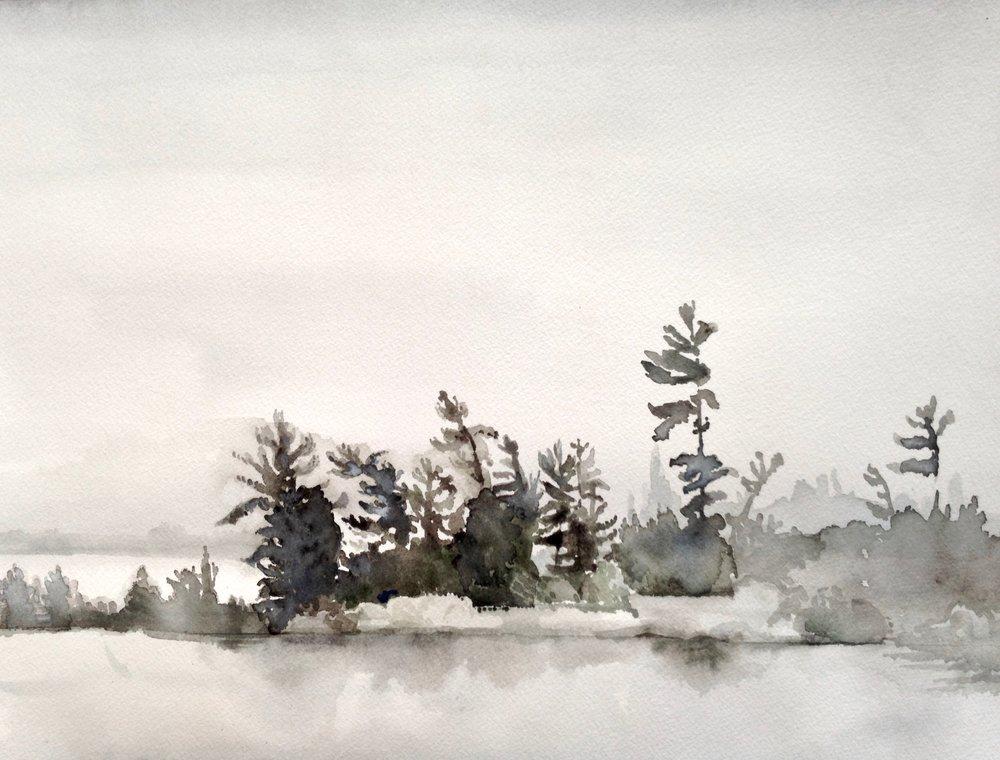 Island Fog, 12 x 16 inches, 2017