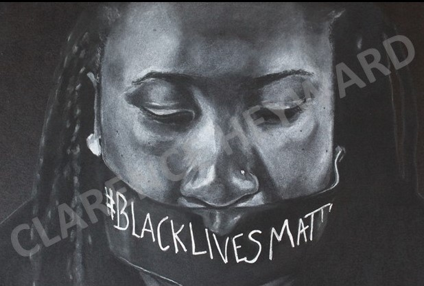 "BLM   Charcoal on paper, Framed, 16"" x 20"""