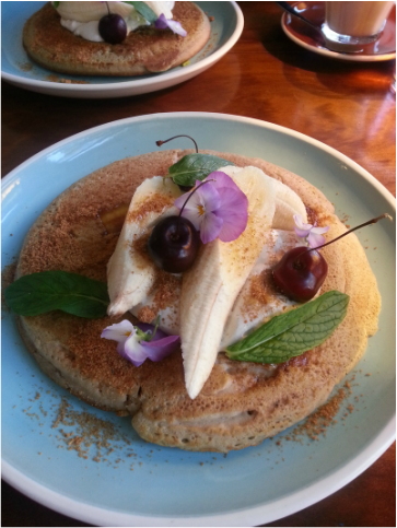 Banana Buckwheat Pancakes - Little Bird Cafe Northbridge