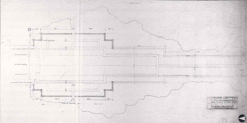 "Beatrix Farrand's original plan for the Garden at Bellefield indicating a surrounding area labeled ""Wild Garden"""