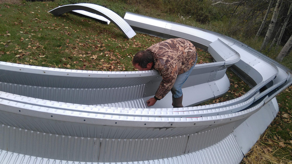 - Peter assembled the ribs bolt by bolt before they were erected