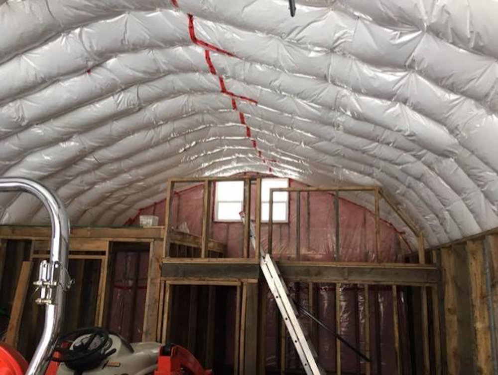 - Insulation on the ceiling and walls is finished and framing walls are constructed