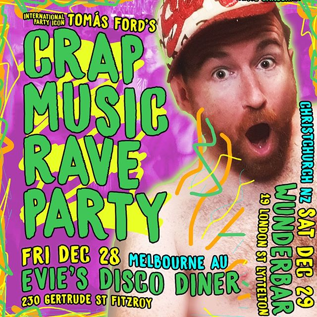 I'm on tour! Well, I'm always on tour. But if you're in #Melbourne or #Christchurch, I'm touring in your direction in the gap between x-mas and NYE. Friday Dec 28 I'm at Evie's Disco Diner in Melbourne and then Saturday Dec 29 you can find me at Wunderbar in Christchurch across the ditch. ✈️✈️✈️ Both gigs are prolly the last time I'll be able to play in those places, as Wunderbar is under new ownership and Evie's are doing a bunch of thier own stuff next year.  Tickets for both shows are limited (and MOVING) and are onsale at @eventfindanz / @eventfindaau now! 🤗🤗🤗🤗🤗🤗🤗🤗🤗🤗🤗🤗 #newzealand #nz #chch #canterbury #southisland #timaru #lyttelton #melbourne  #visitmelbourne #melbournecity #melbournetodo #melbournefood #melbournesights #revolver #melbournedivebar #club #onlymelbourne #melbournebars #cocktails #weekend #melbournemusicscene #melbournemusic #australia #dj #melbourneeats #MICF #comedyfestival #melbournefringe