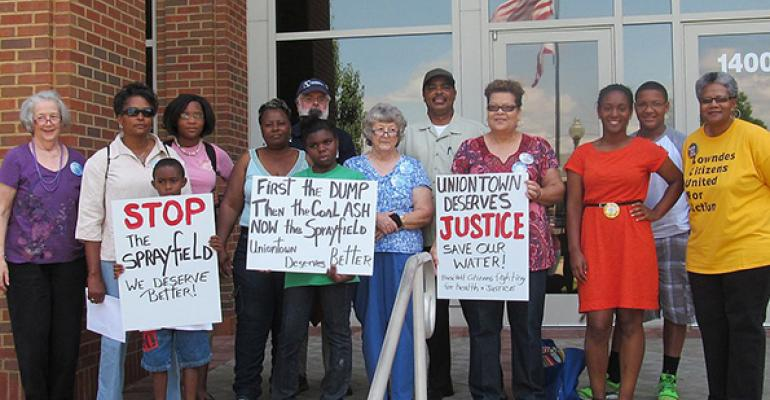 Board members of Black Belt Citizens Fighting for Health and Justice join community members in demonstration against environmental injustices in Uniontown, AL.