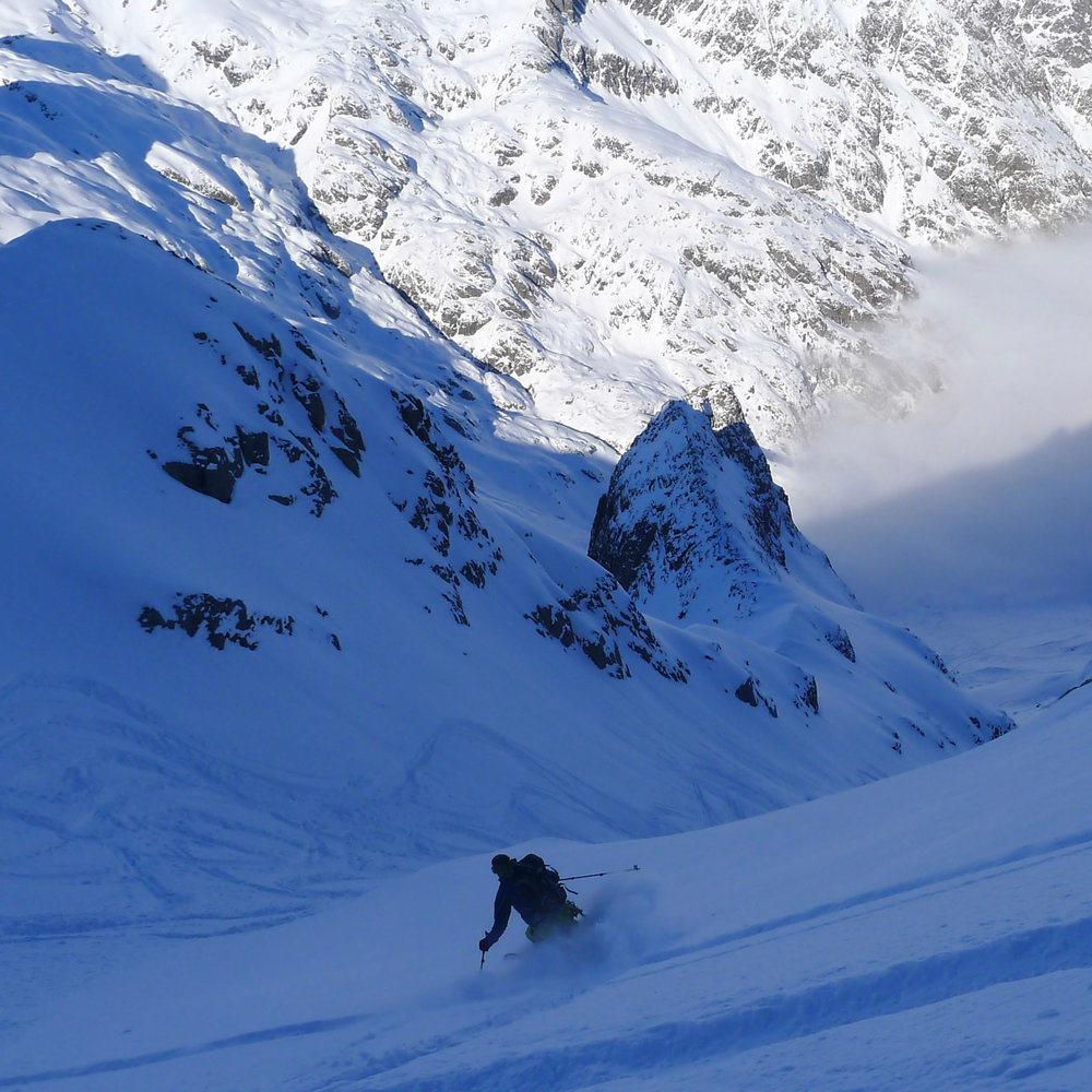 Finding deep cold powder days after the last snowfall Aiguille Rouges Chamonix.jpg