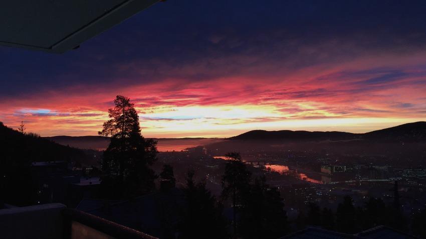 Drammen en tidlig morgen.
