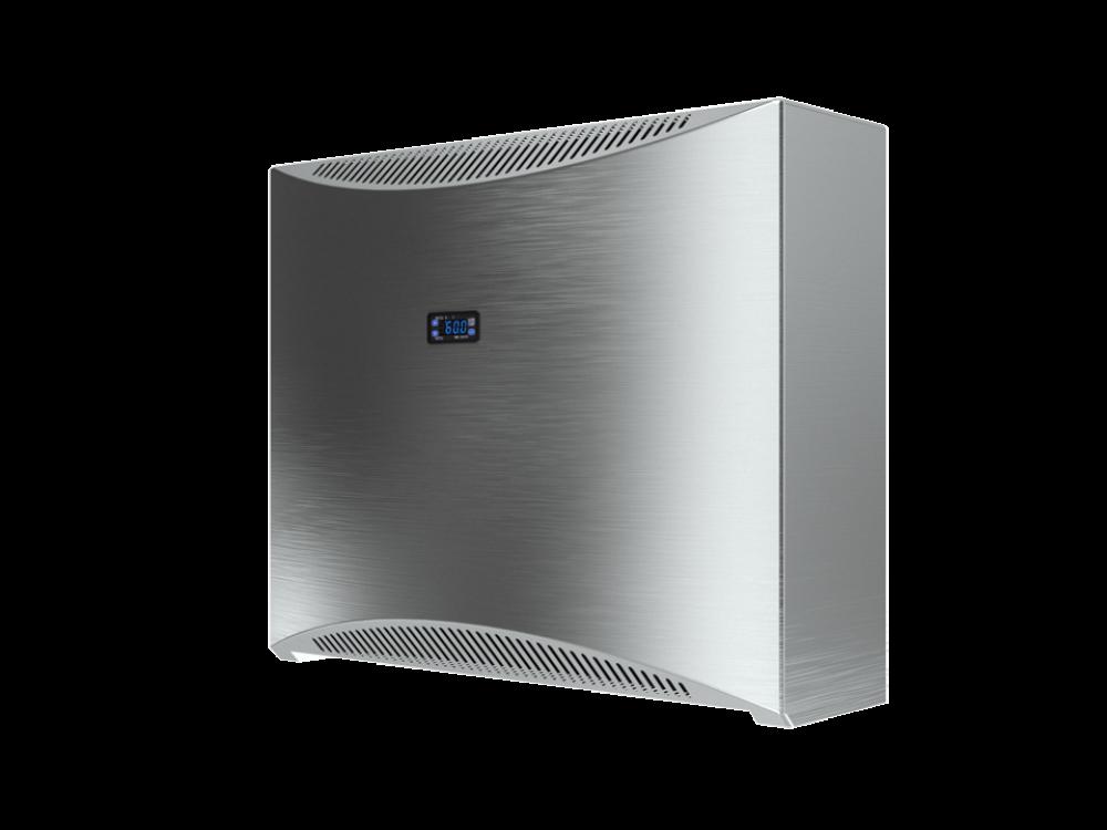 DRY 300 Edelstahl - Edelstahlgehäuse. Eingebauter digitaler Hygrostat und Thermostat + mechanischer Hygrostat als Ausfallschutz.