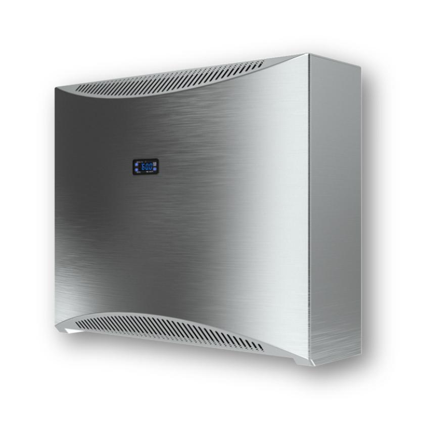 Schwimmbad-entfeuchter DRY 400 Silver - Edelstahlgehäuse & eingebauter digitaler Hygrostat und Thermostat.