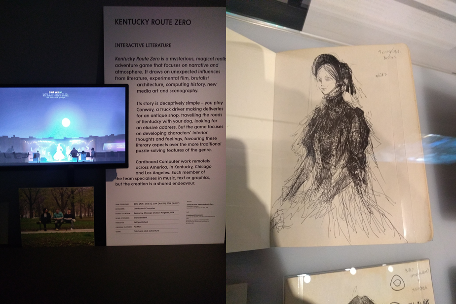Figure 2: examples of collection in the Design section. Kentucky Route Zero (Left). A sketched design of the doll in Bloodborne (Right).