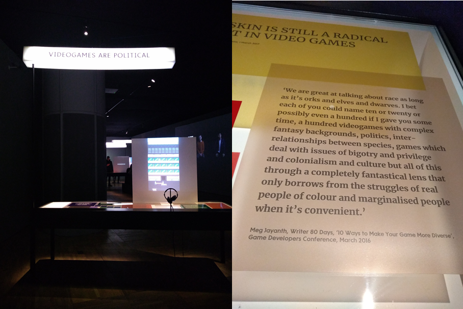 Figure 3: the Disrupt section. A table on political videogames (Left). A quote from Meg Jayanth about race in games (Right).