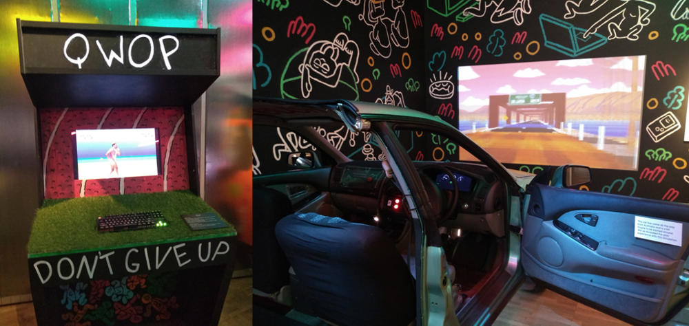 Figure 4: two examples of the variety on show in the Play section. The QWOP cabinet (Left). The arcade machine made from half a car (Right).