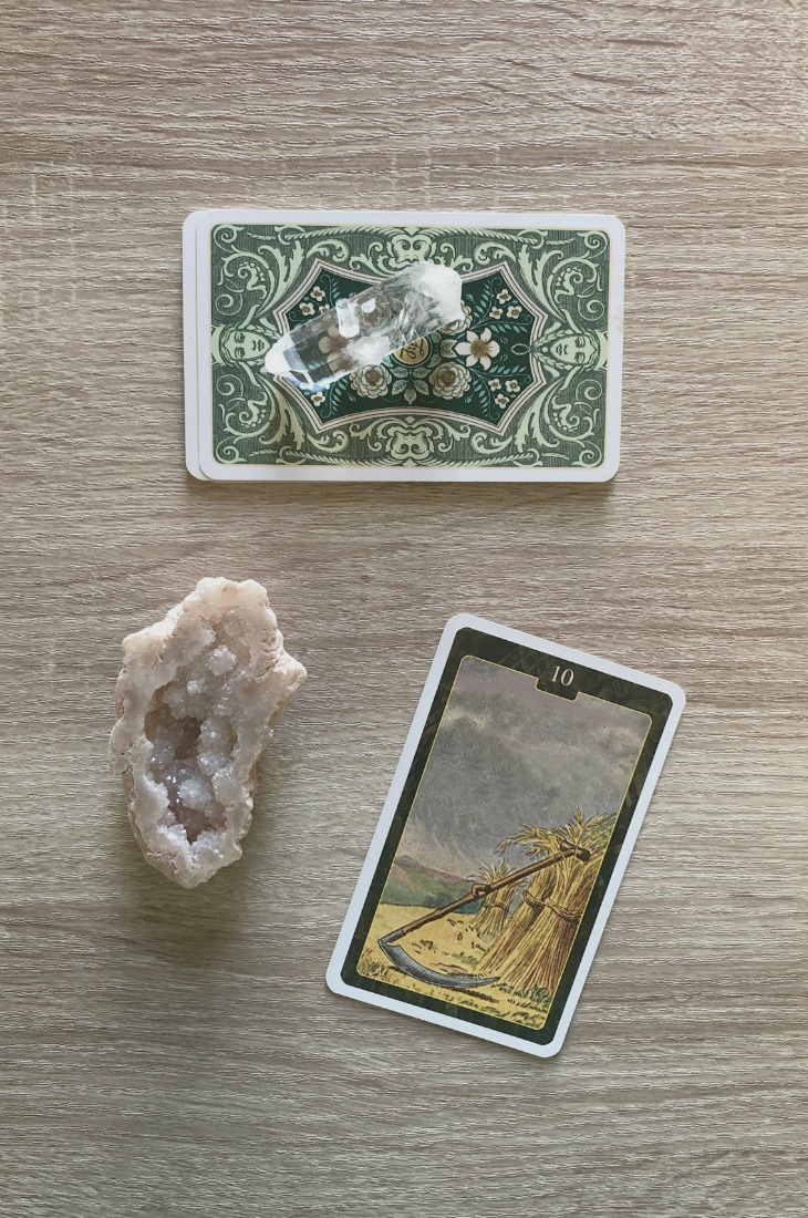 Lenormand Scythe card meanings and interpretations. Learn how to read the Lenormand Scythe card for general, love, business, money, health and other types of readings. In Lenormand decks, Scythe is a card which represents the end of relationships.