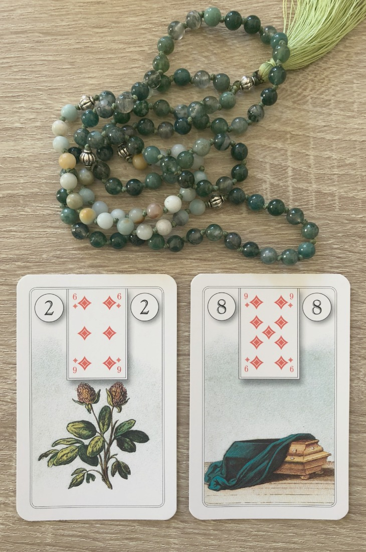 Lenormand Clover card combinations and interpretations. Learn how to combine the Lenormand Clover card for general, love, business, money, health and other types of readings. Here is how to combine it with the Book, Letter, Coffin, Snake, Moon and other cards from your deck.
