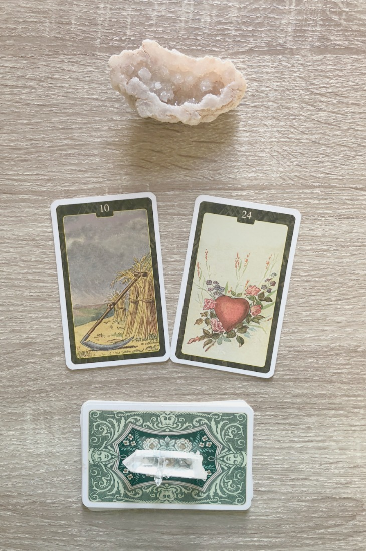 Lenormand Scythe card combinations and interpretations. Learn how to combine the Lenormand Scythe card for general, love, business, money, health and other types of readings. Here is how to combine Scythe with Coffin, Fish, Fox, Bouquet and other cards in your deck.