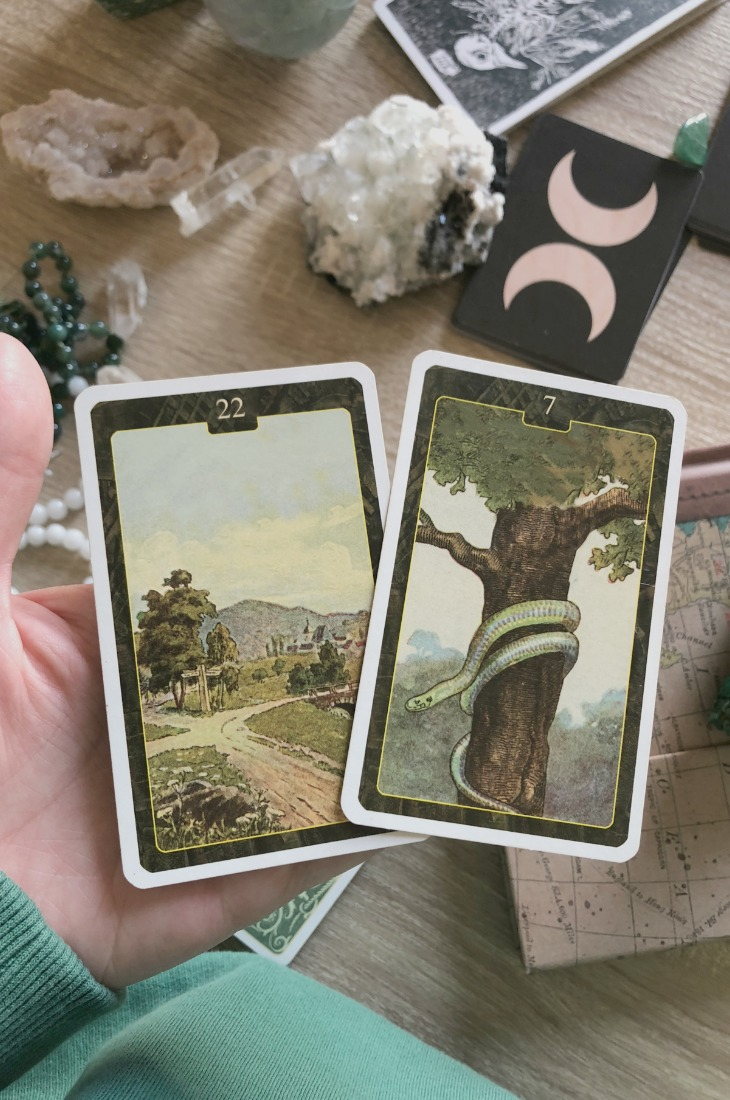 Lenormand Crossroads or Ways card combinations and interpretations. Learn how to combine the Lenormand Crossroadscard for general, love, business, money, health and other types of readings. Here is how to combine Crossroads with Scythe, Heart, Tree, Rider and other cards in your deck.