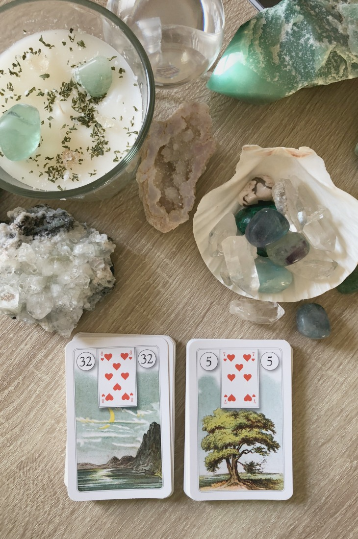 Lenormand Moon card combinations and interpretations. Learn how to combine the Lenormand Moon card for general, love, business, money, health and other types of readings. Here is how to combine Moon with Anchor, Key, Fish, Lily and other cards in your deck.