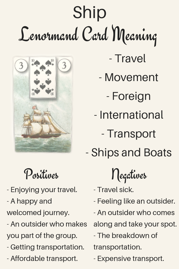 Art Illustration: Lenormand Ship card meanings and interpretations. Learn how to read the Lenormand Ship card for general, love, business, money, health and other types of readings. The Ship card is also known as the Ship. In Lenormand decks, it can represent progress in relationships.
