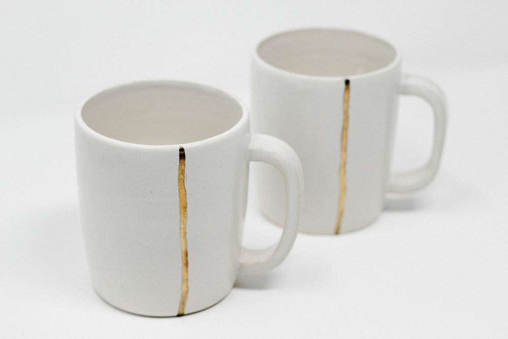 hand thrown ceramics + glaze + gold