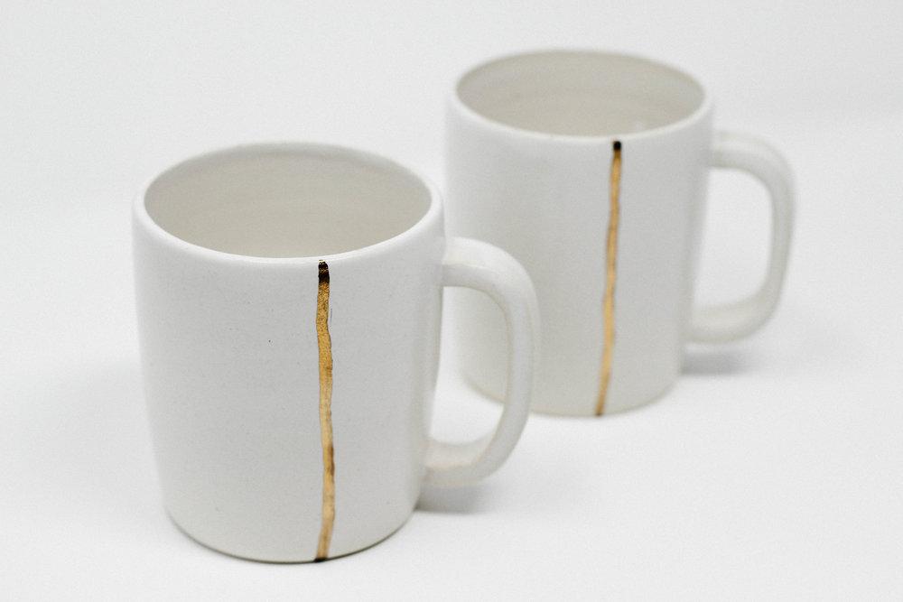 hand thrown ceramics + glaze + gold