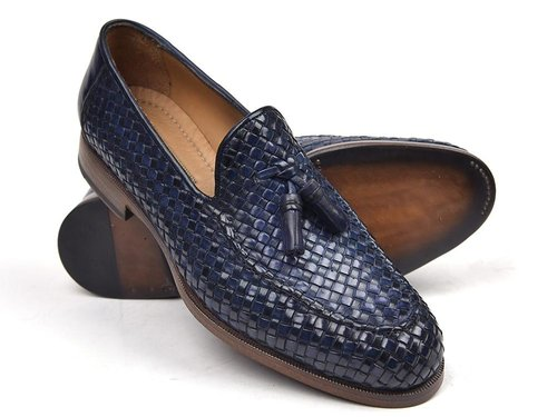 d1978bca3dd WESLEY Hand Crafted Woven Leather Tassel Loafer BLUE — Hand Crafted ...