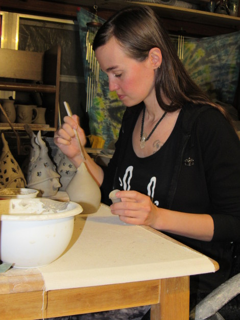 Rachel Staggers gnomes and skull mugs are her signature items.