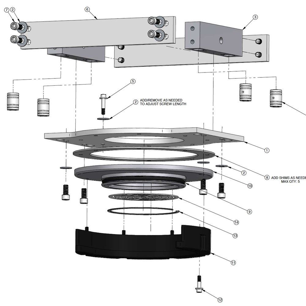 3D model exploded view detailing a clamping lid assembly for food processing equipment.
