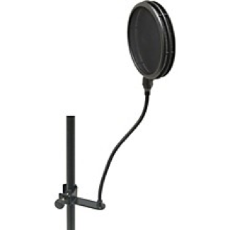 Popper stopper connects to the mic stand, helps prevent plosives and keeps unwanted moisture from collecting on your mic, cost: $15 and up