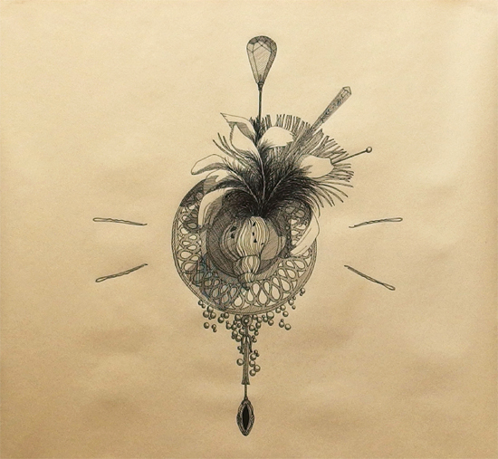"""Objektkomposition Nr.1 The Shell"", 45x45cm, Ink on paper, 2017"