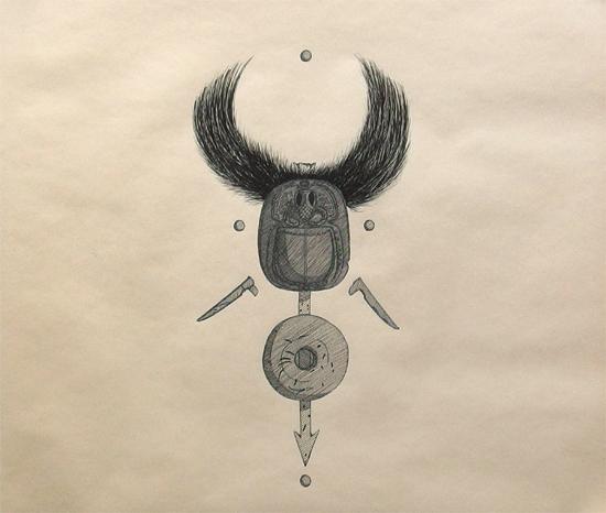 """Objektkomposition Nr.3 The Scarabeus"", 45x45cm, Ink on paper, 2018"