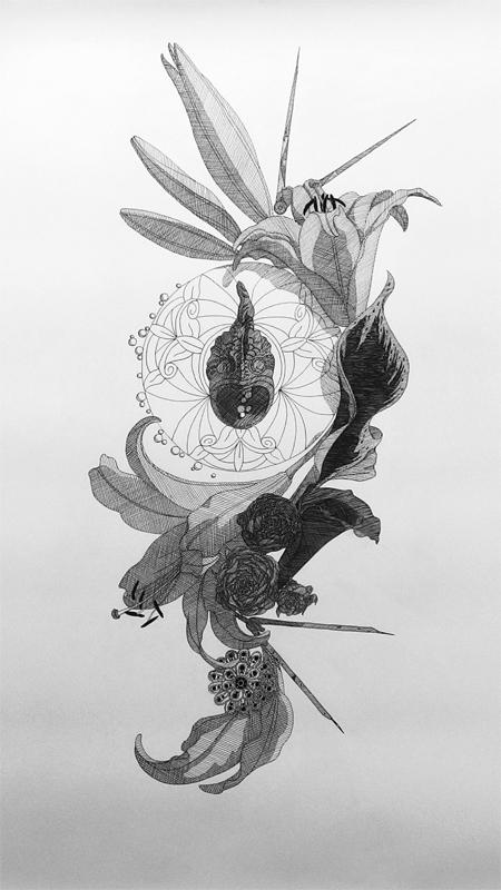 """Objektkomposition Nr.4 The Fish Desklination"", 50x70cm, Ink on paper, 2018"