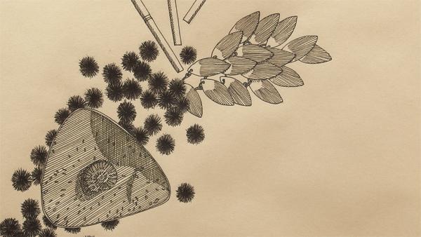 """Objektkomposition Nr.7 The Fossil"", 45x45cm, Ink on paper, 2018 - Detail"