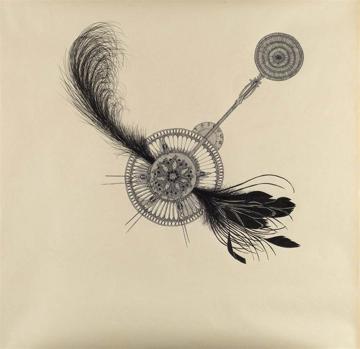"""Objektkomposition Nr.2 The Brooch"",45x45cm, Ink on paper, 2018"