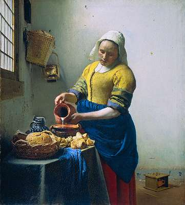 Vermeer, milkmaid, around 1658-1661