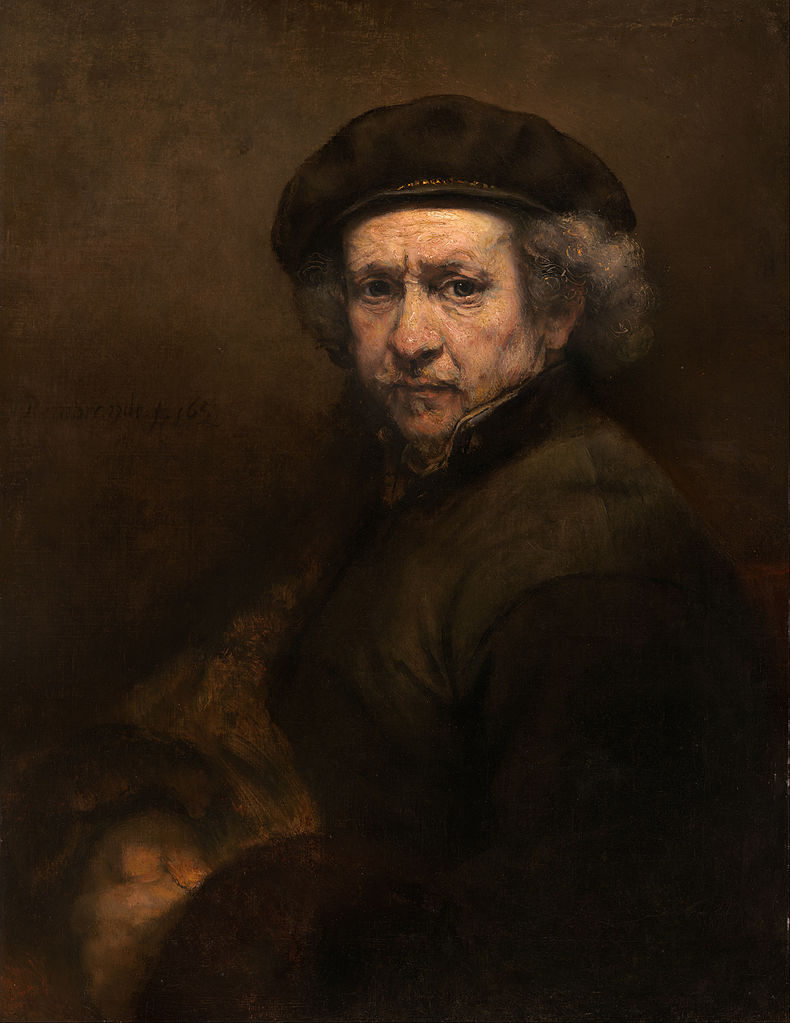 Rembrandt, Self Portrait with Beret and Turned-Up Collar, 1659.