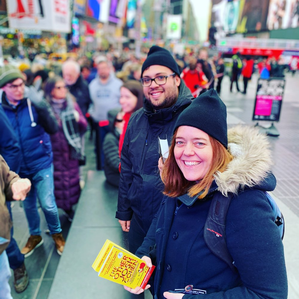 Crew members Tiffany McCullough and Jordan Durham working at the TKTS booth in Times Square.