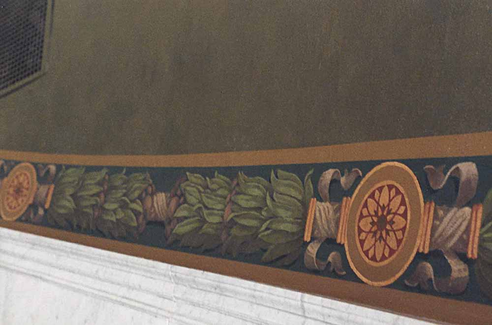 Conservation of stair painted decoration