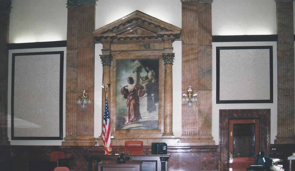 Courtroom missing painted panels