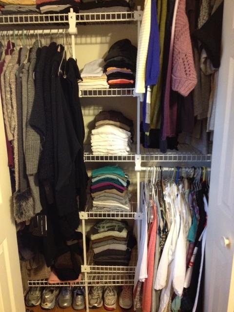 Closet before organize bins