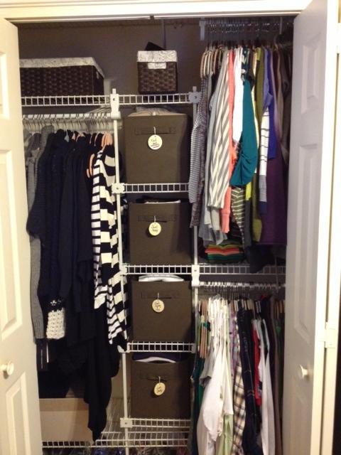 Closet after organize bins
